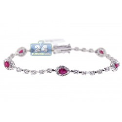 "Womens Diamond Ruby Tennis Bracelet 18K White Gold 3.55 ct 7.25"""