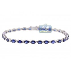 18K White Gold 5.92 ct Diamond Sapphire Womens Bracelet