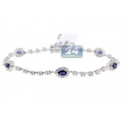 18K White Gold 3.83 ct Diamond Sapphire Womens Tennis Bracelet
