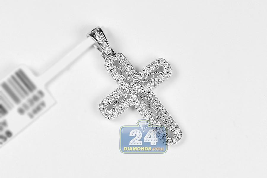 Womens diamond filigree cross pendant 14k white gold 025ct aloadofball Choice Image