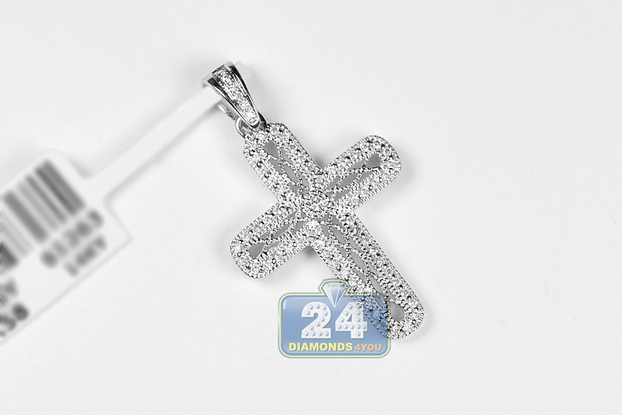 Womens diamond filigree cross pendant 14k white gold 025 ct aloadofball Image collections