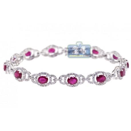 "Womens Diamond Ruby Halo Bracelet 18K White Gold 6.35 ct 7mm 7"""