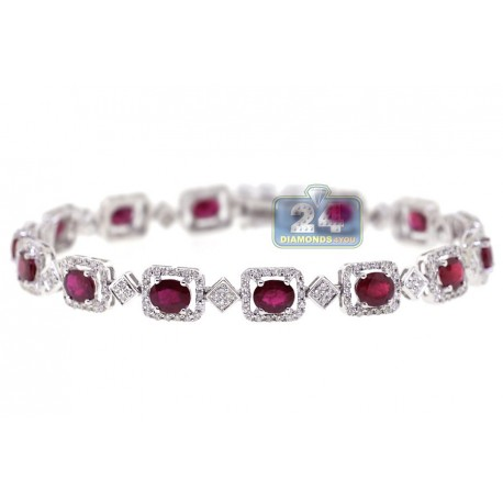 Womens Ruby Diamond Halo Tennis Bracelet 18K White Gold 7.77 ct