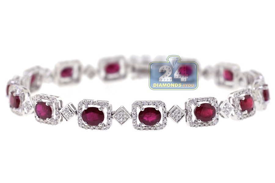 Womens Ruby Diamond Halo Tennis Bracelet 18k White Gold 7