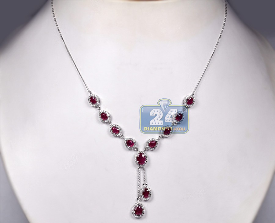 Womens Diamond Ruby Lariat Drop Necklace 18k White Gold 6 84ct