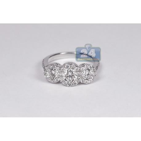 14K White Gold 2.19 ct 3 Stone Diamond Halo Womens Engagement Ring
