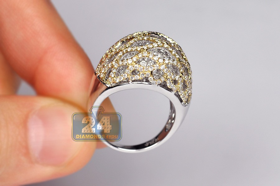 Womens Diamond Cage Dome Ring 14k Two Tone Gold 3 70 Ct