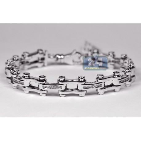 Mens Diamond Bicycle Bracelet 14K White Gold 0.67 ct 10mm 8""