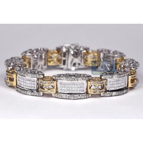 "Mens Diamond Link Bracelet 14K Two Tone Gold 8.17 ct 13mm 8.5"""