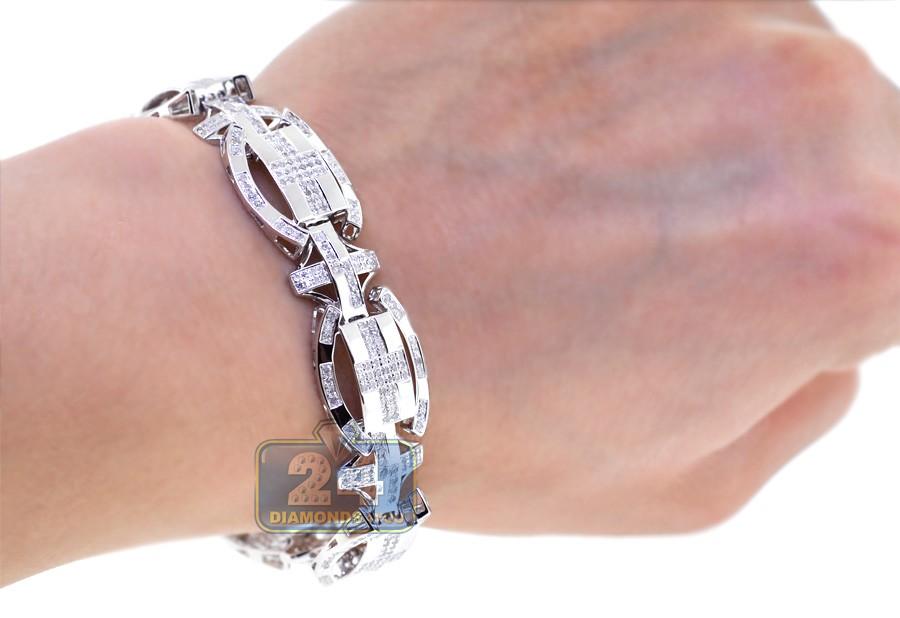 mens diamond oval link bracelet 10k white gold ct. Black Bedroom Furniture Sets. Home Design Ideas