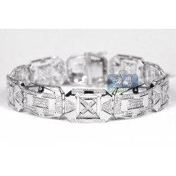 10K White Gold 3.62 ct Diamond Rectangular Link Mens Bracelet