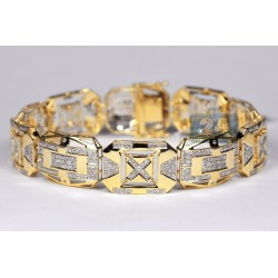 10K Yellow Gold 3.62 ct Diamond Rectangular Link Mens Bracelet
