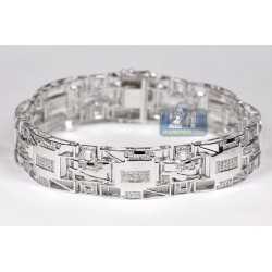 10K White Gold 1.85 ct Diamond Pave Link Mens Bracelet 8 1/2 Inch
