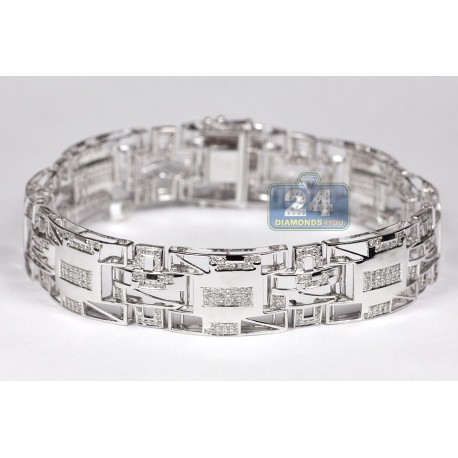 Mens Diamond Pave Link Bracelet 10K White Gold 1.85 ct 15mm 8.5""