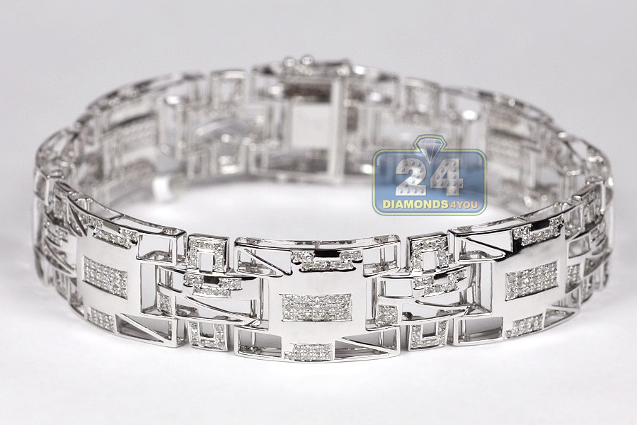 10k White Gold 1 85 Ct Diamond Pave Link Mens Bracelet 8 2 Inch