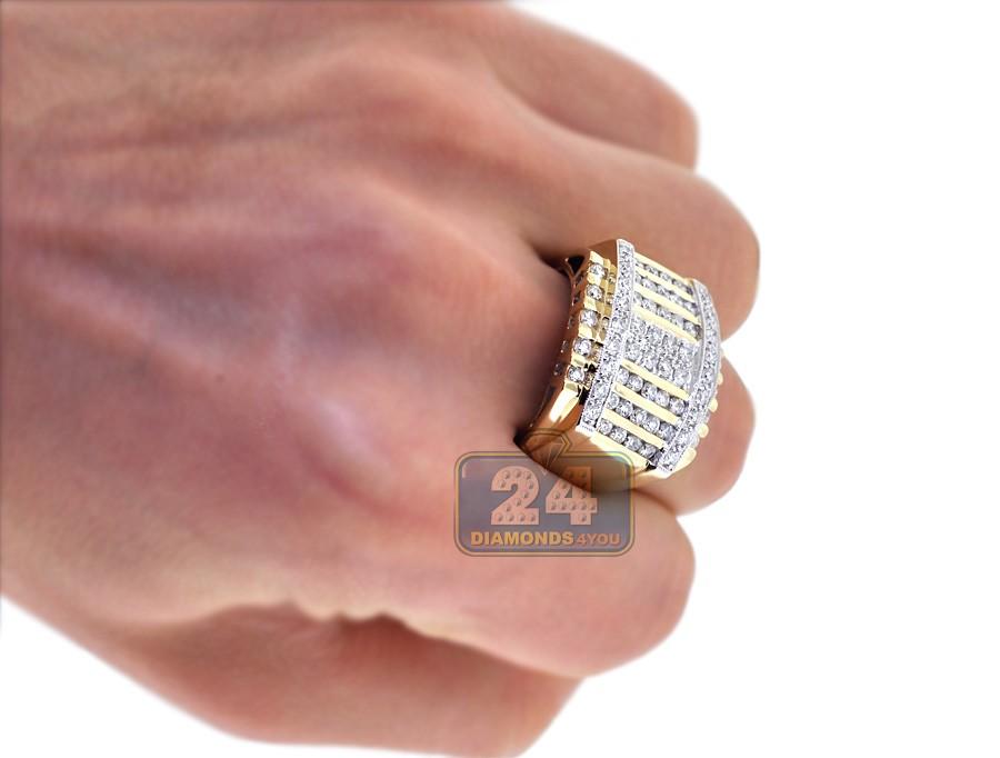 Mens Multirow 2 48 ct Diamond Ring Square Shape 14K Yellow Gold
