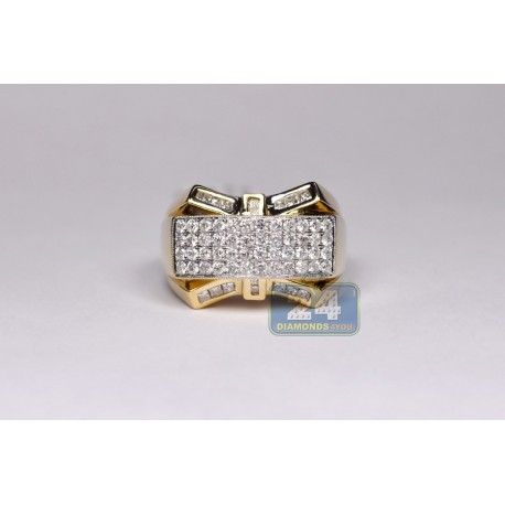 14K Yellow Gold 1.65 ct Round Princess Cut Diamond Mens Ring