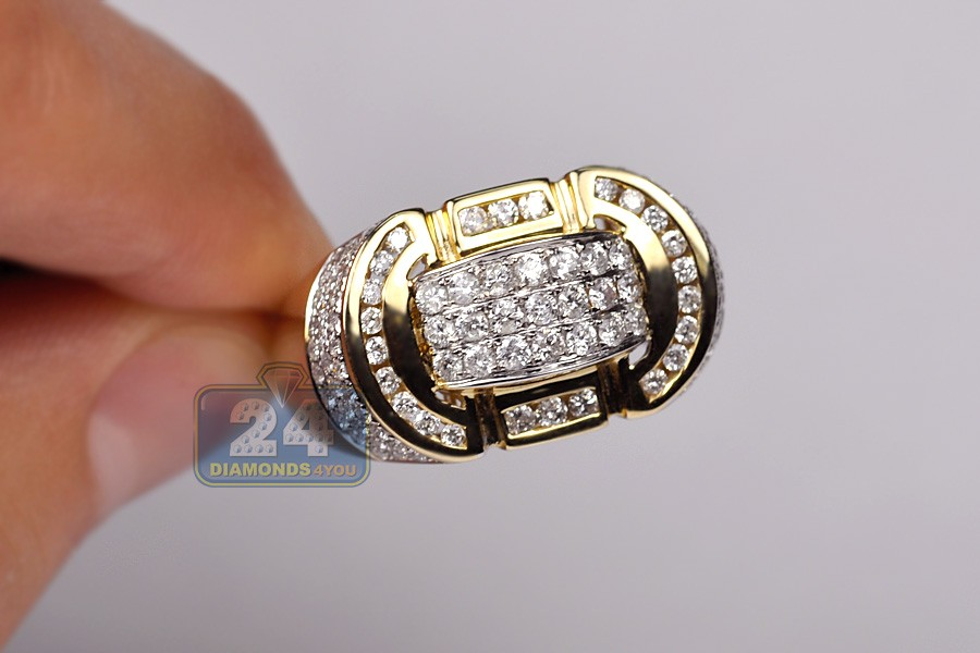 Mens 1 71 Ct Diamond Signet Ring Oval Shaped 14k Yellow Gold