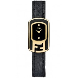 F311421011D1 Fendi Chameleon Black Enamel Womens Gold Watch 18mm