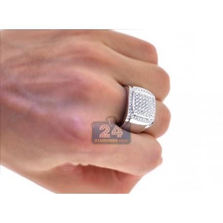 Mens Round Cut Diamond Square Signet Ring 14K White Gold 1.38ct