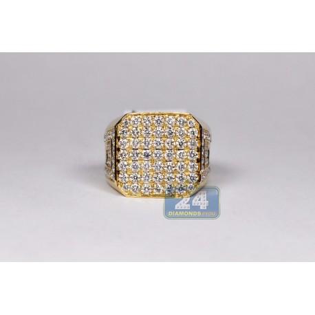 14K Yellow Gold Square 5.46 ct Diamond Mens Signet Ring