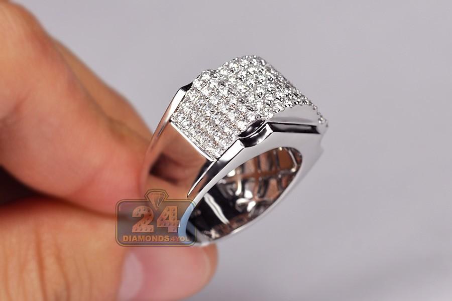 Mens 3 Ct Diamond Signet Ring Polished 14k White Gold