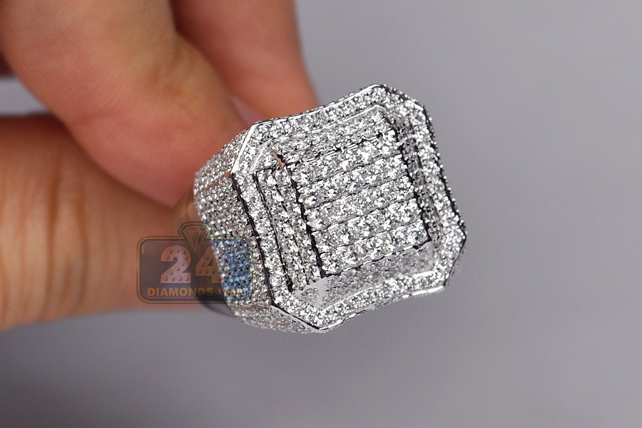 Mens Diamond Square Shape Signet Ring 14k White Gold 3 80ct