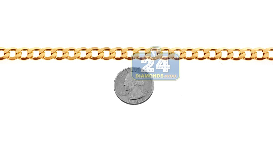 Real 10k Yellow Gold Hollow Flat Cuban Link Mens Chain 8 5 Mm