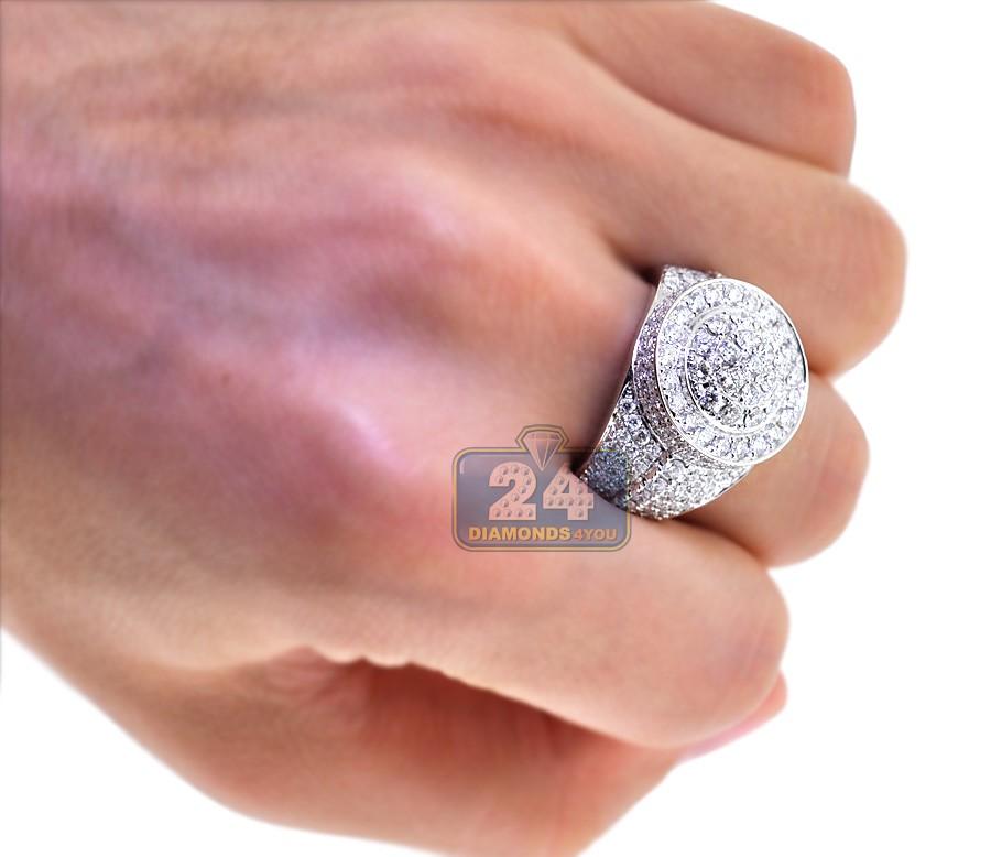 Mens Diamond Cluster Signet Luxury Ring 14k White Gold 4 68ct