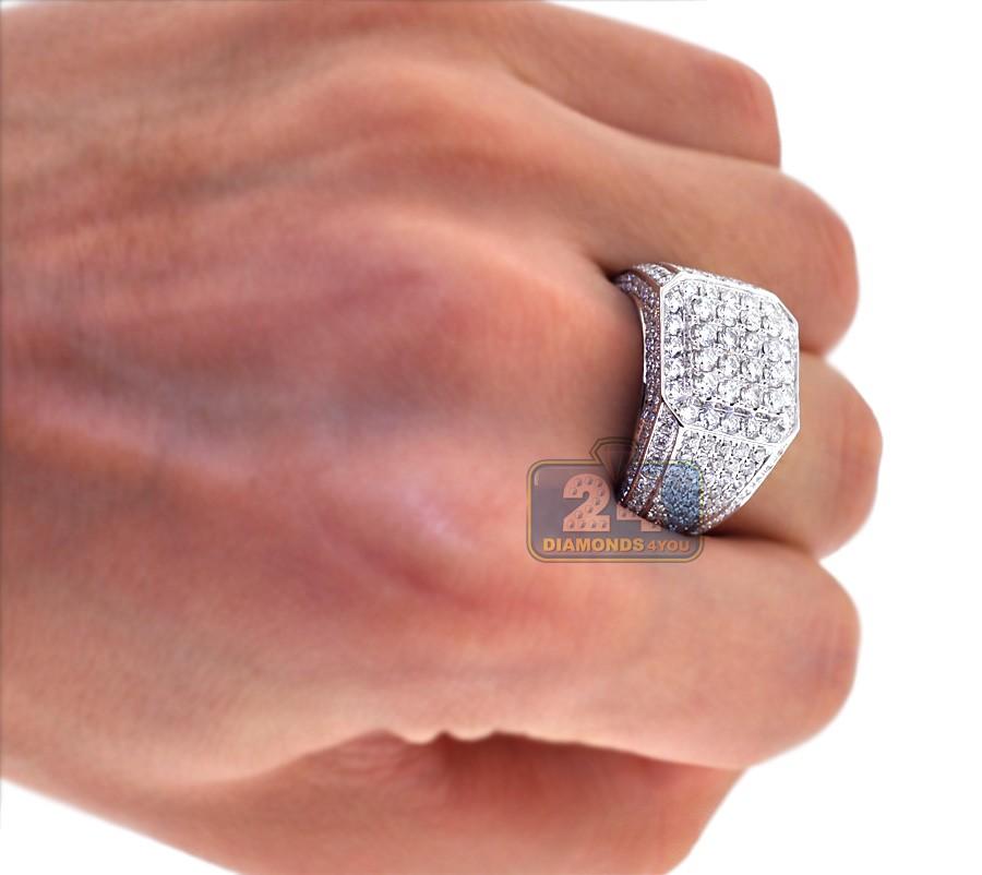 14k White Gold 4 32 Ct Diamond Mens Square Signet Ring