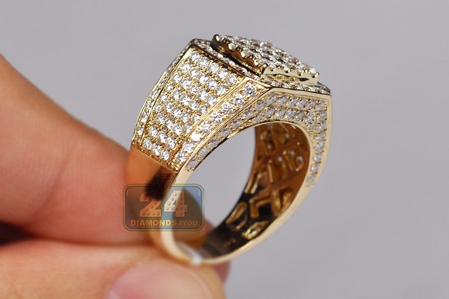 Mens 4 30 Ct Diamond Square Shaped Ring 14k Yellow Gold