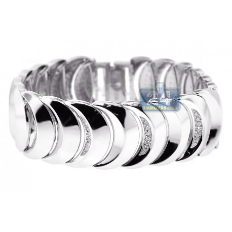Womens Diamond Moon Link Bracelet 14K White Gold 1.37 ct 8 inch