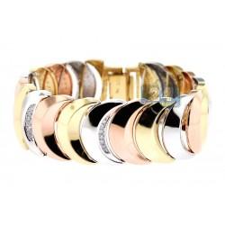 14K Three Tone Gold 1.35 ct Diamond Moon Link Womens Bracelet