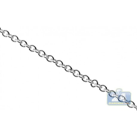 10K White Gold Cable Link Womens Chain 1.5 mm 18 Inches