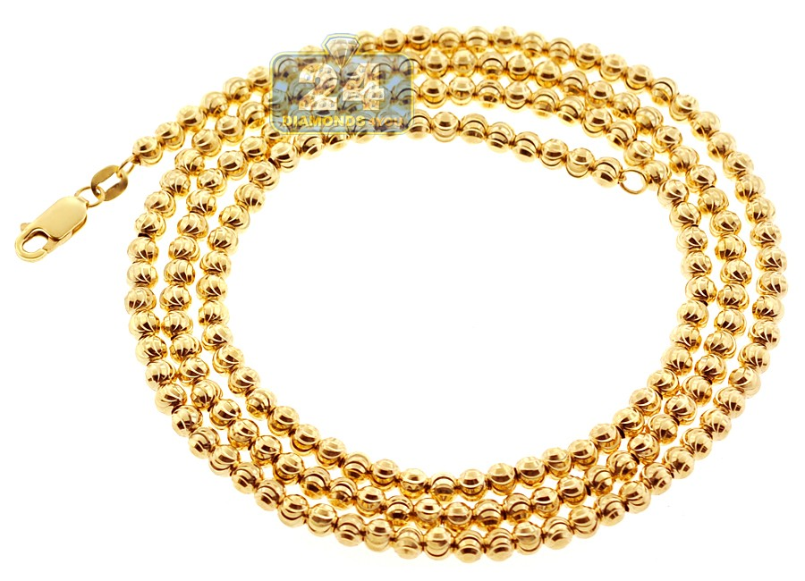 Italian 10k Yellow Gold Moon Cut Bead Mens Necklace 4 Mm