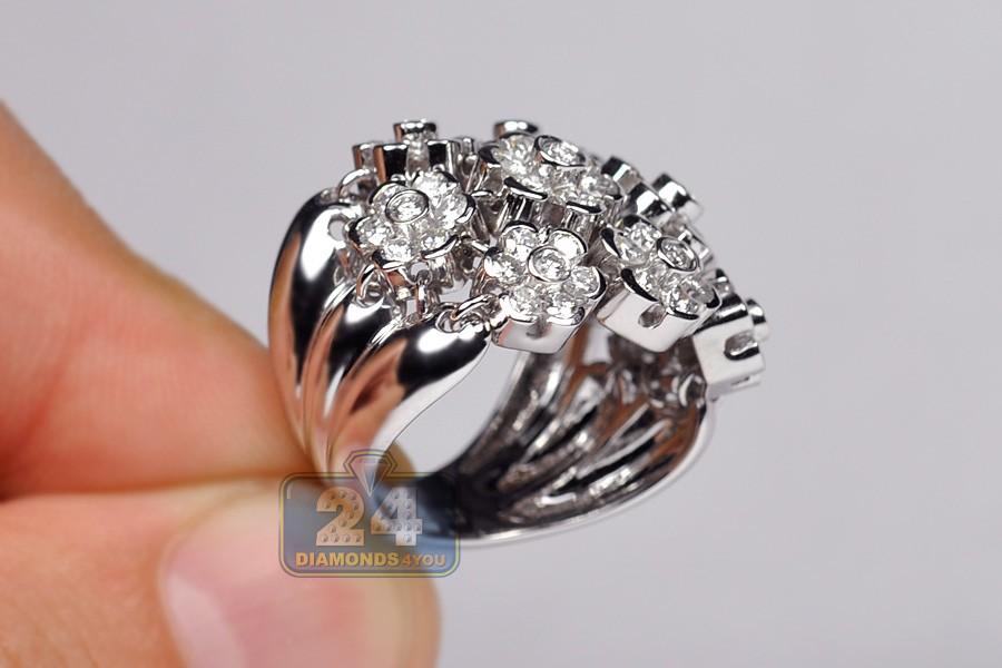 2 40 Ct Diamond Cluster Womens Flower Ring 18k White Gold