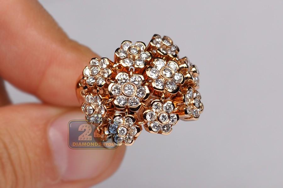 diamond cluster flower shape design womens ring 18k rose gold