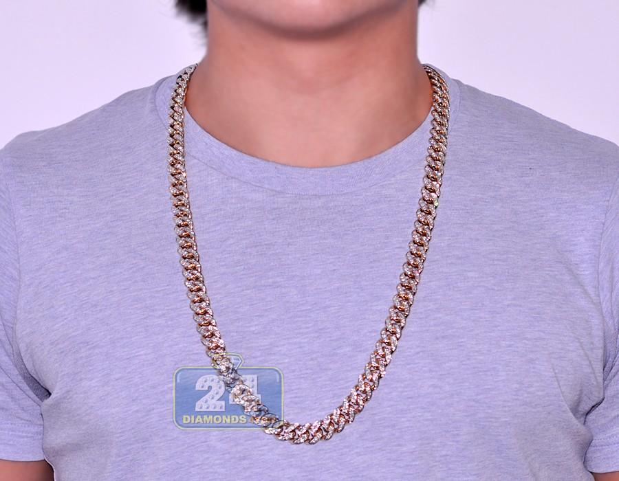 Mens Diamond Miami Cuban Link Chain 14k Yellow Gold 12mm 30 Quot