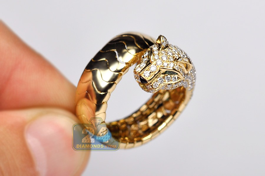 Womens Diamond Panther Cat Wrap Ring 18k Yellow Gold 1 63 Ct