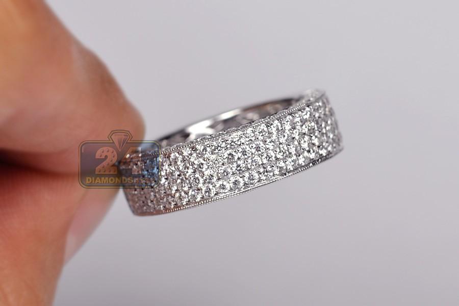 Mens Half Way Diamond Wedding Band Ring 18k Gold 2 15 Ct