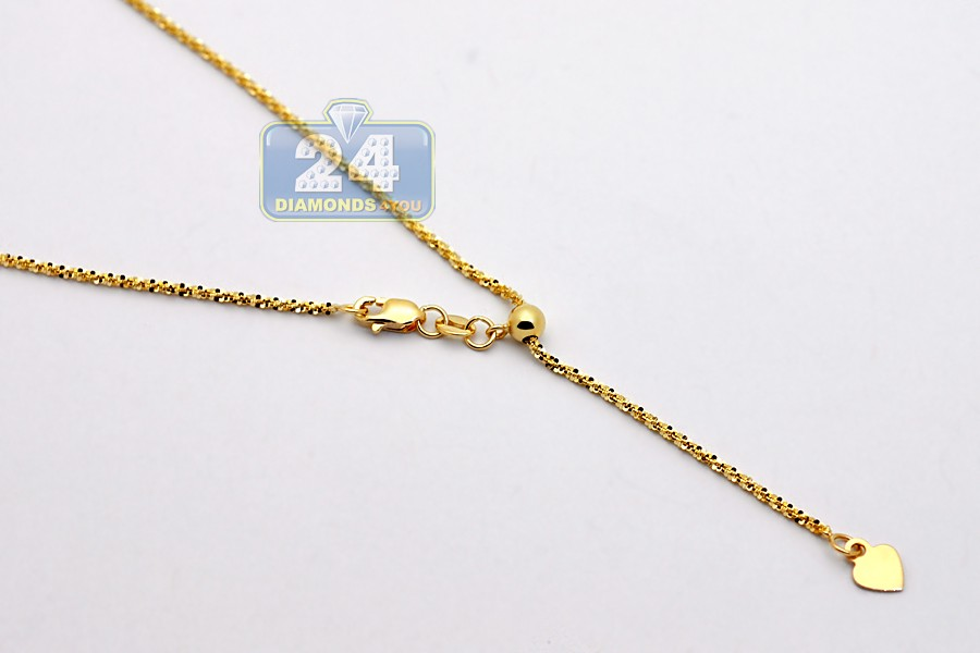 14k Yellow Gold Adjustable Fancy Mesh Link Womens Chain 19