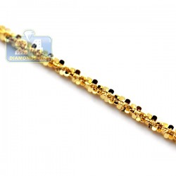 14K Yellow Gold Adjustable Fancy Mesh Link Womens Chain 19 Inches