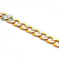 10K Yellow Gold Curb Link Diamond Cut Mens Chain 5 mm 24 Inches