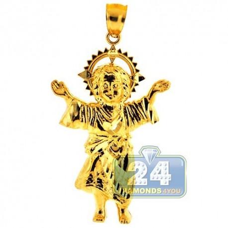 Solid 10K Yellow Gold Baby Jesus Christ Body Mens Pendant