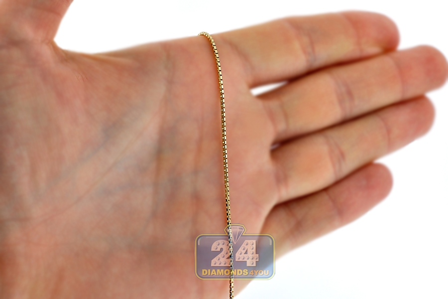 2745ed8d72964 14K Yellow Gold Square Box Solid Link Mens Chain 1.2 mm