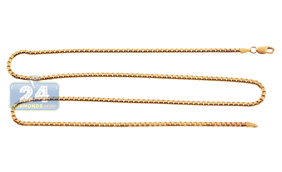 cd0af29631b3b 14K Yellow Gold Solid Square Box Link Mens Chain 1.8 mm