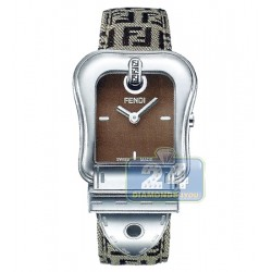 F370122F Fendi B. Fendi Brown Dial Zucchino Strap Womens Watch