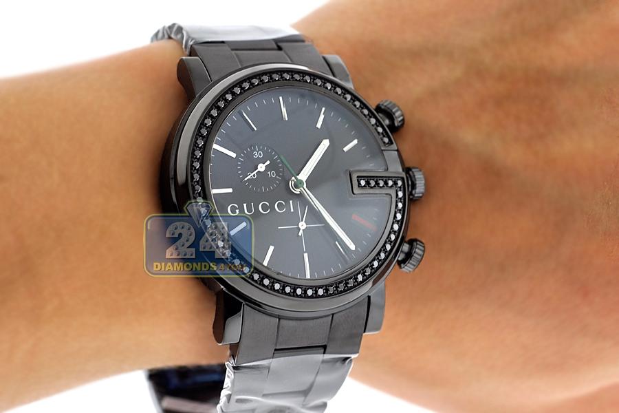 gucci gchrono black diamond mens watch ya101347