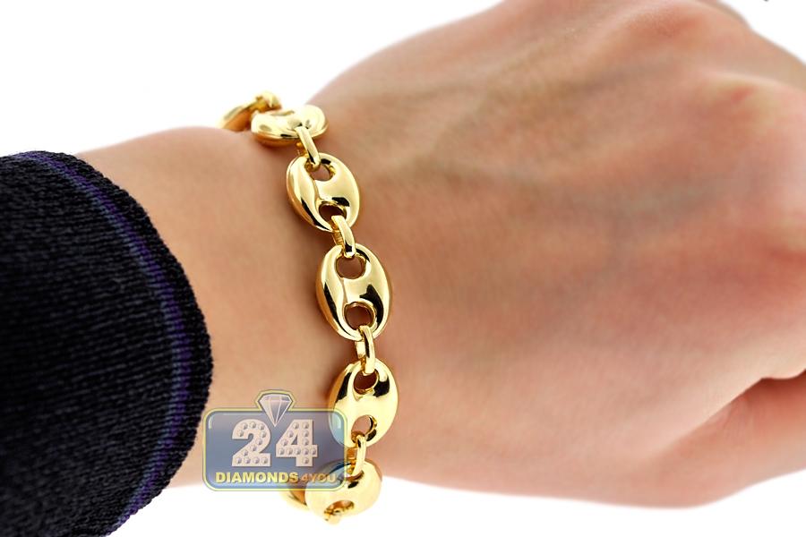 Real 10k Yellow Gold Mariner Anchor Mens Bracelet 12mm 8 25