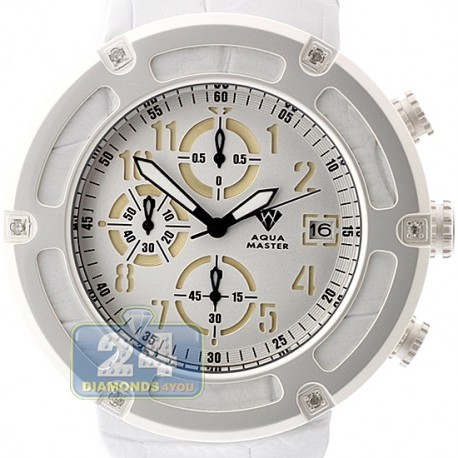 Aqua Master 0.24 ct Diamond White PVD Steel Leather Mens Watch